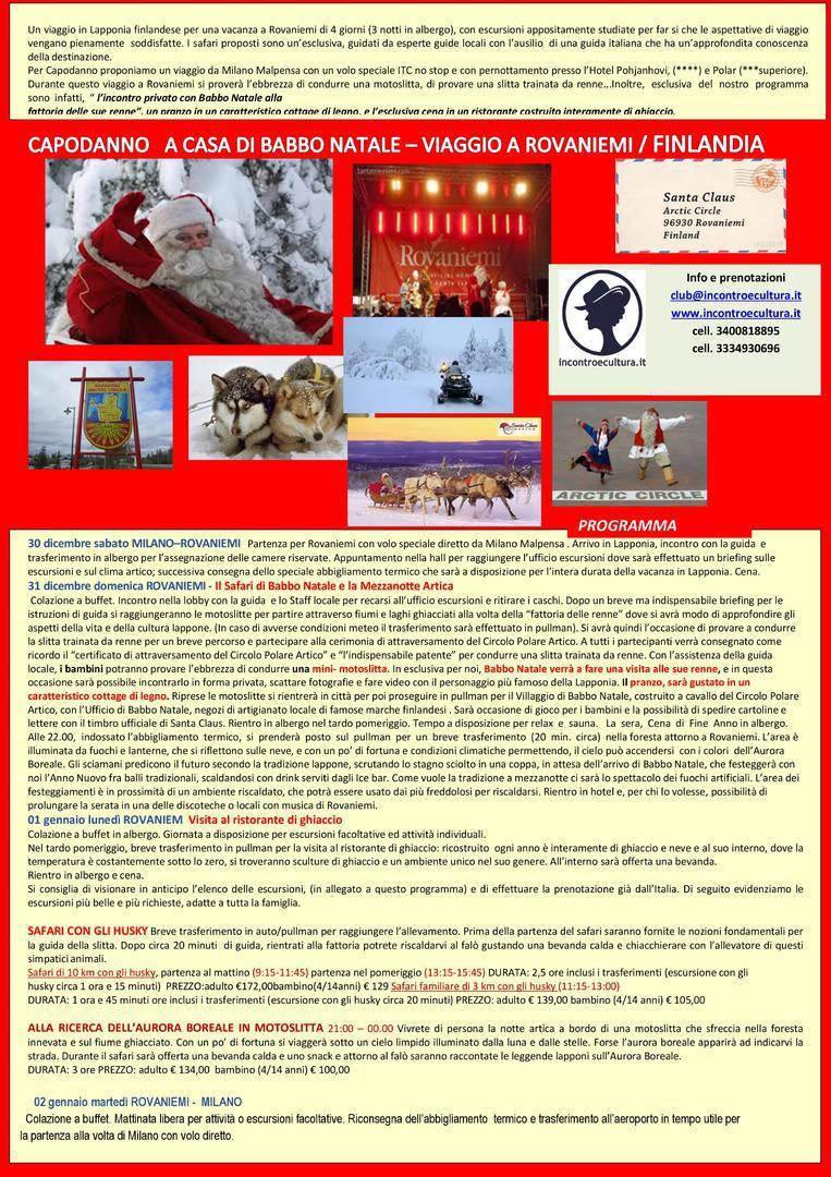 Capodanno A Casa Di Babbo Natale.Incontro E Cultura Capodanno A Casa Di Babbo Natale Rovaniemi